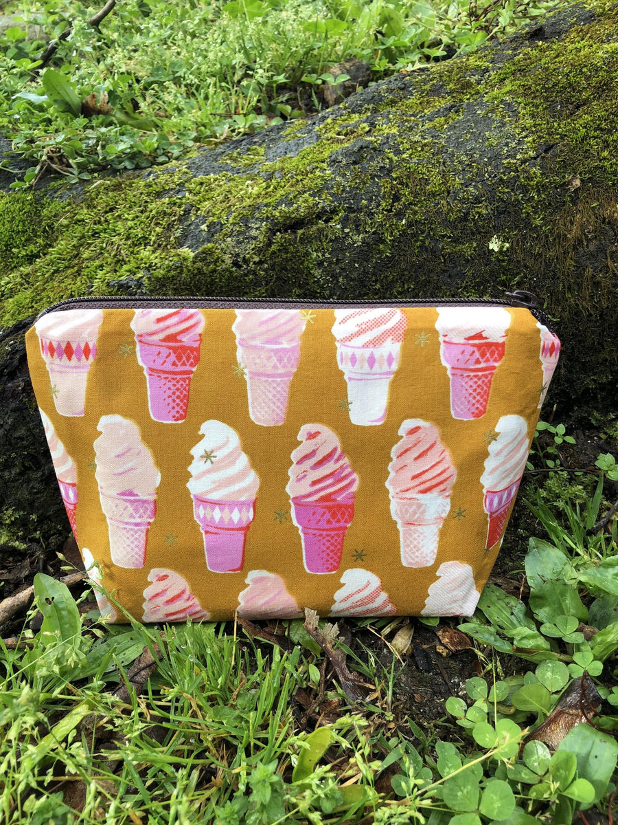 Ice Cream Cone Pouch / Handmade Cosmetic, Toiletry, and Small Item Bag