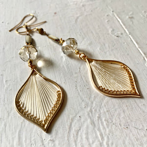 Champagne Thread Chandelier Statement Earrings - Exclusive
