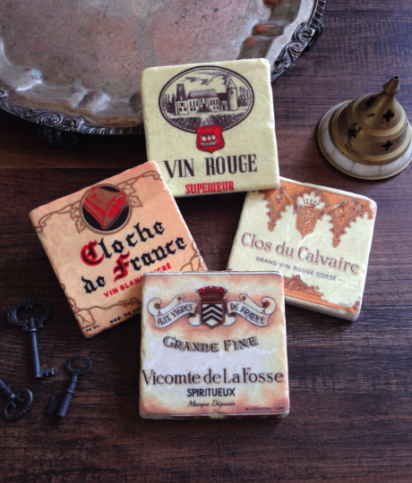 Vintage Wine Label stone coaster set