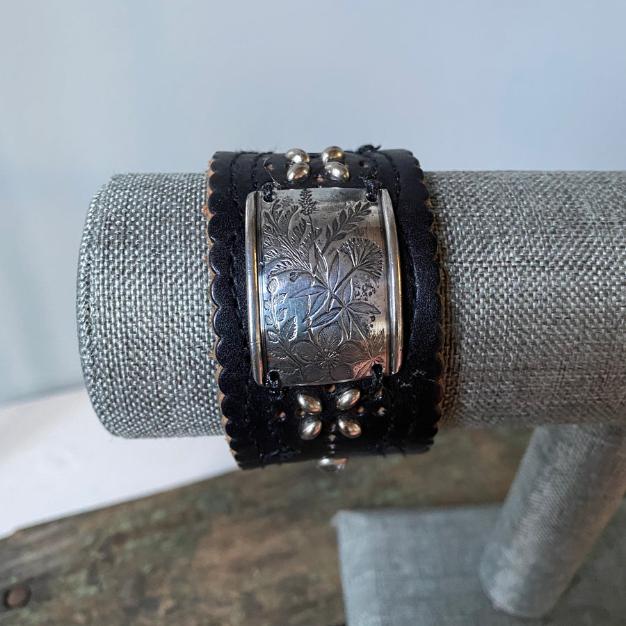 Studded Leather Cuff (OOAK)
