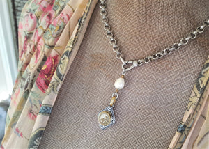 Lavaliere Necklace with c.1890 Antique Button- Exclusive