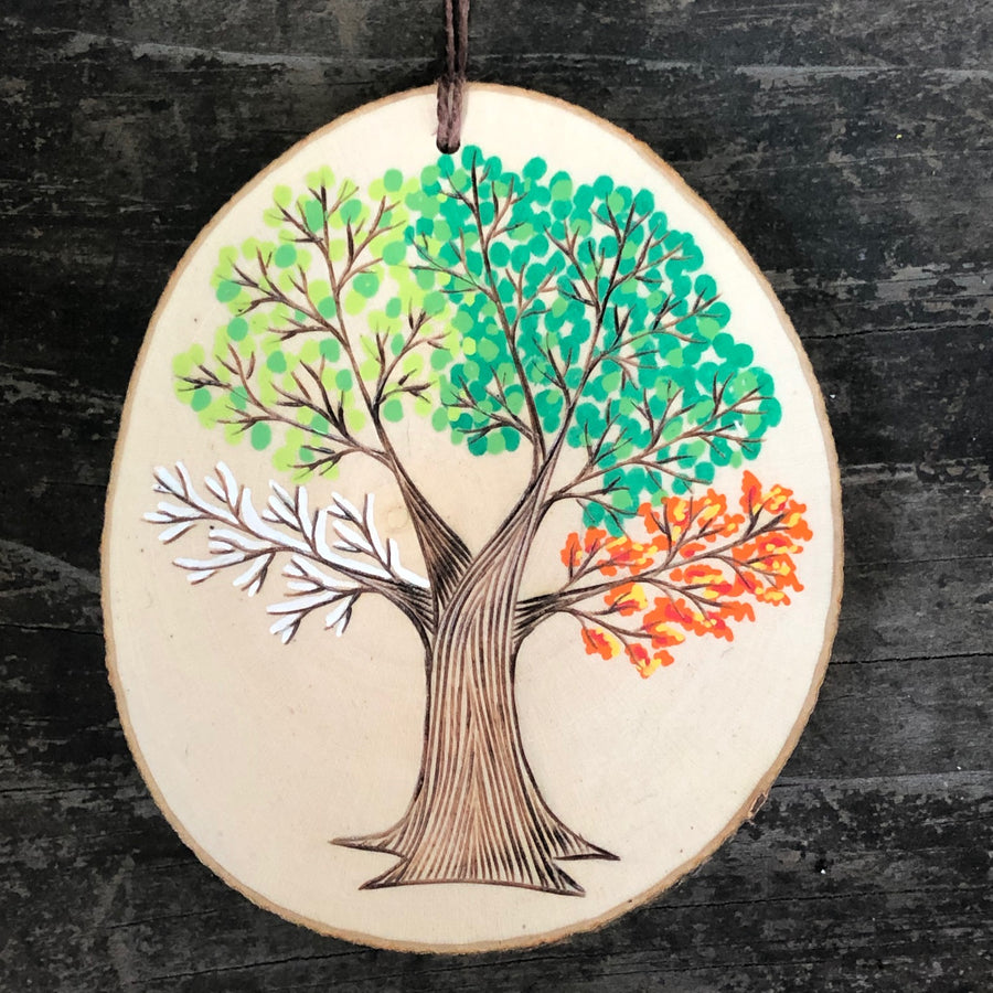 Four seasons tree wood slice ornament - OOAK