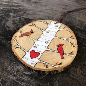 Birch tree with cardinals wood slice ornament