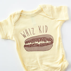 Whiz Kid cheesesteak one-piece baby bodysuit