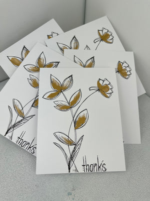 Hand Drawn and Painted Thank you Notes