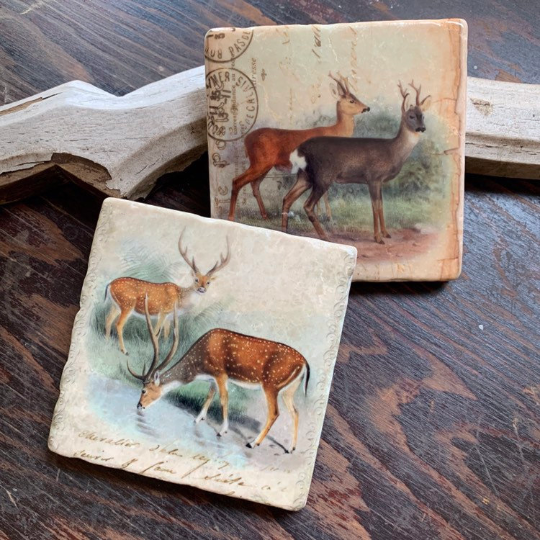 Vintage Deer stone coaster set