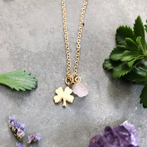 Gold Clover Necklace with Birthstone Gem - EXCLUSIVE