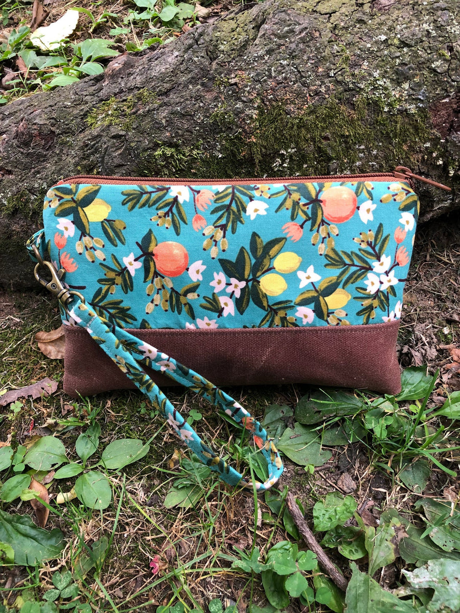 Teal Citrus Clutch - Handmade Waxed Canvas and Cotton Wristlet