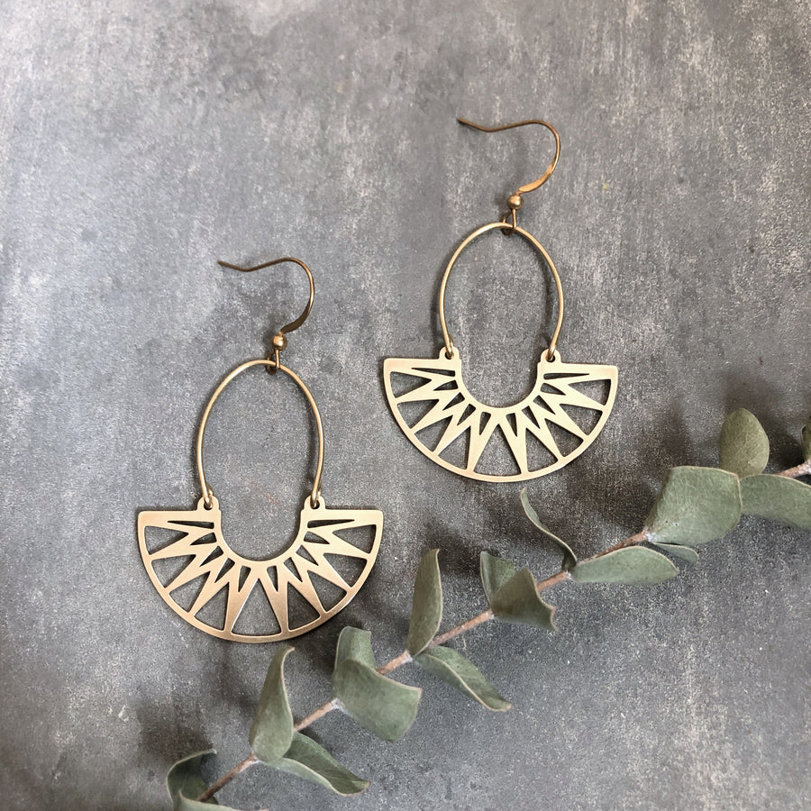 Galena Earrings ~ Brass