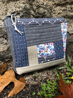 Blue Quilted Pouch - OOAK