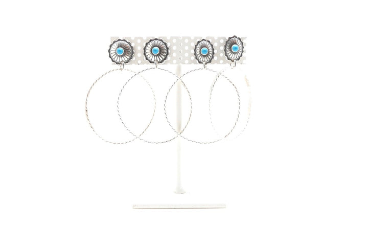 Turquoise conch mini stud-hoops - Clover Market