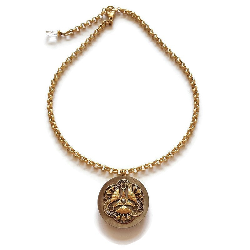 FAYE- Antique Button Necklace