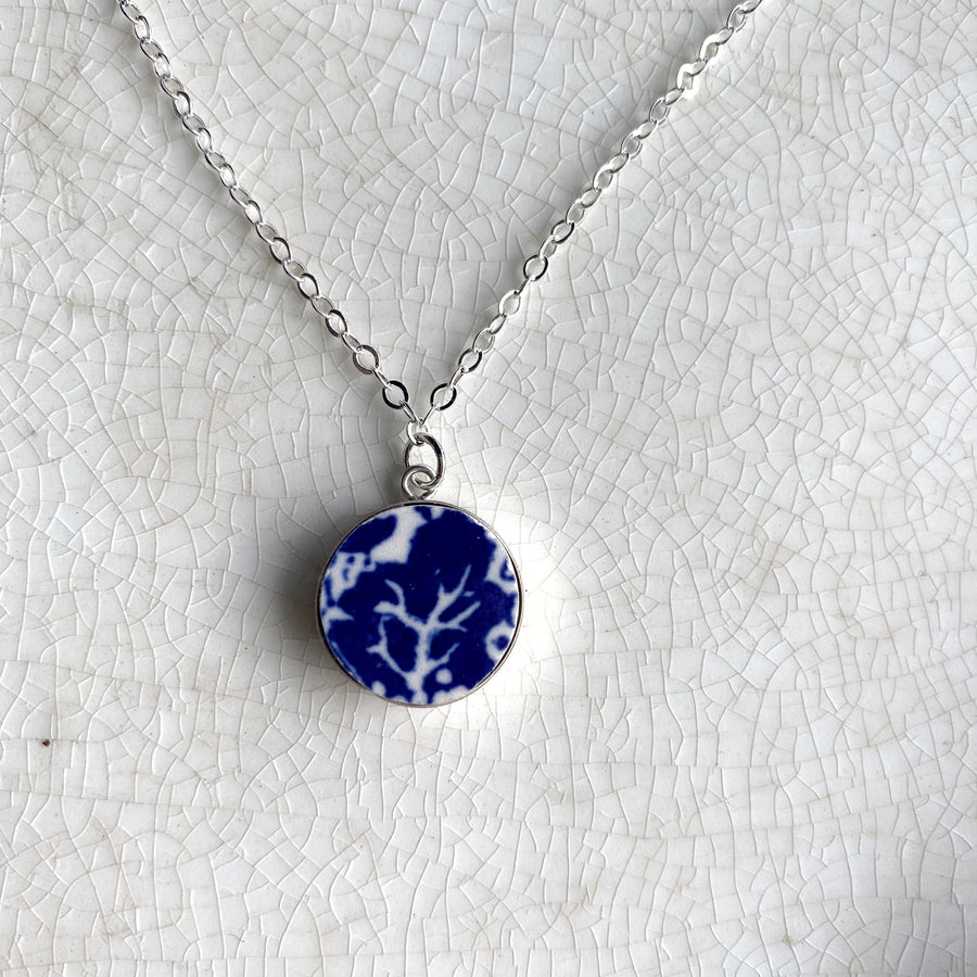 Simple Modern Art Tiny Blue Willow Broken China Necklace
