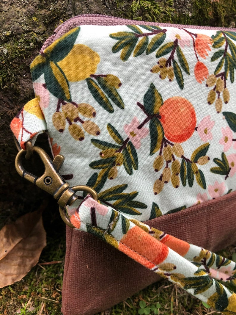 Mint Citrus Clutch - Handmade Waxed Canvas and Cotton Wristlet