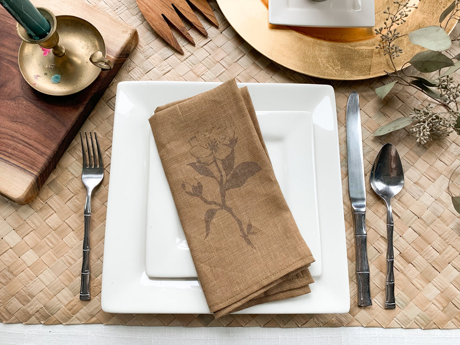 Magnolia Print Linen Napkins - Set of 4