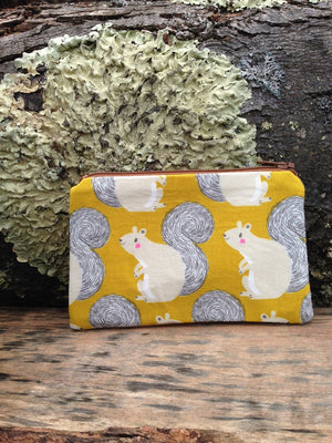 Squirrel Canvas Coin Purse/ Handmade Cotton and Canvas Change Purse