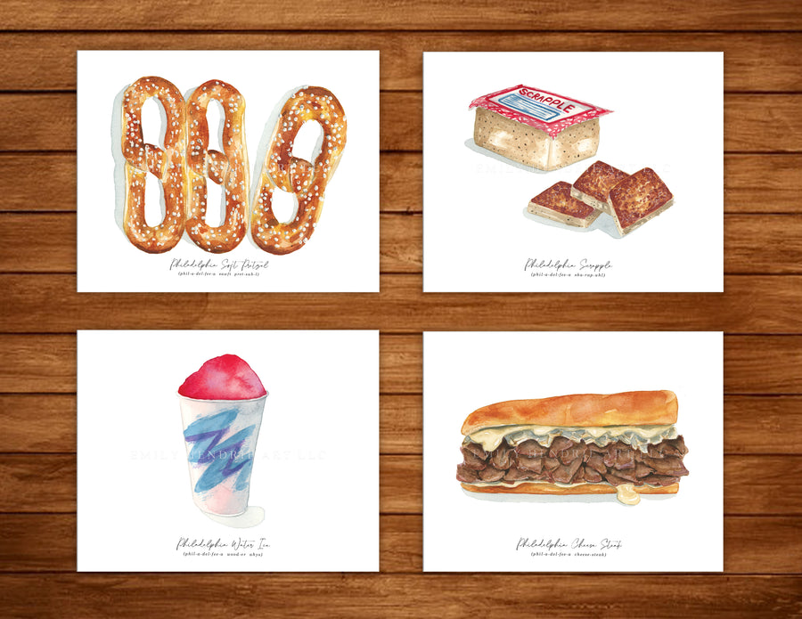"4 8""x10"" Philly ""Phood"" Watercolor art print set - Exclusive - Clover Market"