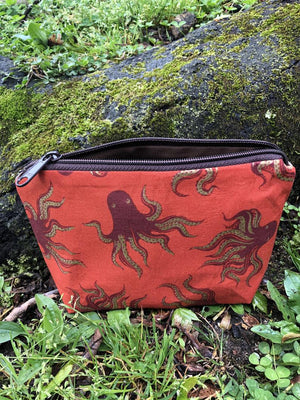 Octopus Canvas Pouch / Handmade Cosmetic, Toiletry, and Small Item Bag