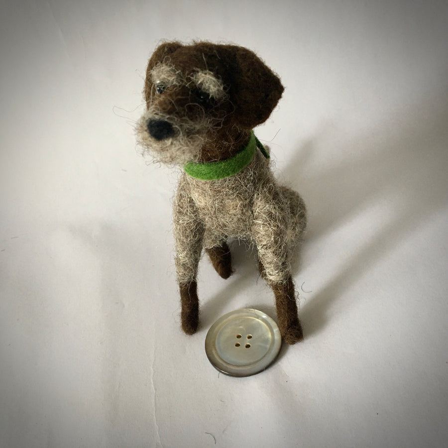 Needle Felted German Wire Hair Pointer Dog - OOAK