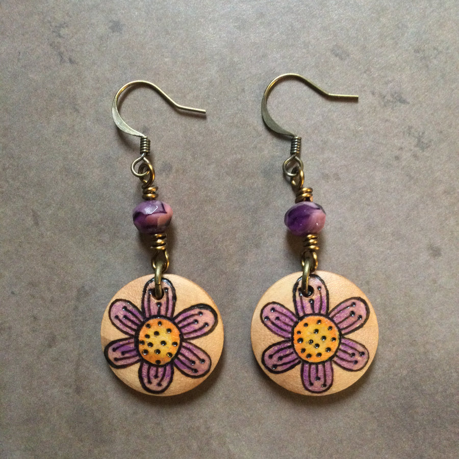 Purple Blossom Wood Earrings