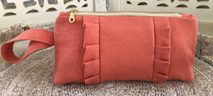Ruffled Clutch- Coral Linen