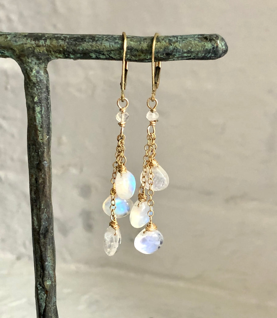 Rainbow Moonstone Triple Drop Dangles - Clover Market