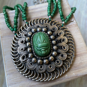 Green Scarab Necklace - OOAK