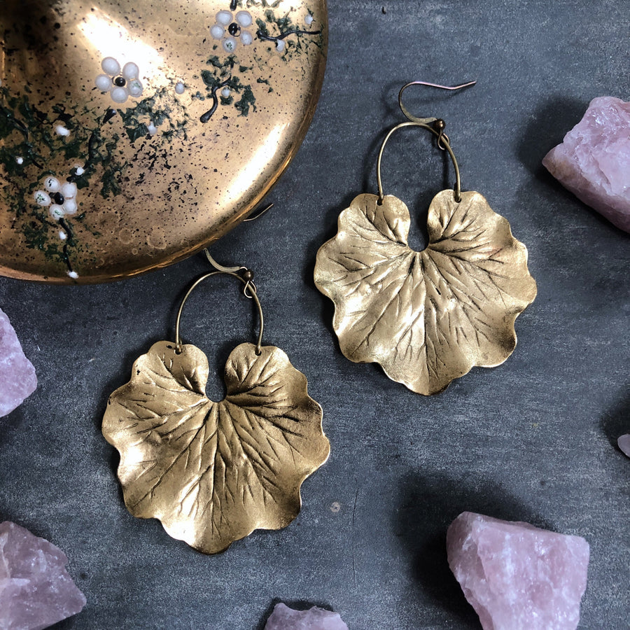 Geranium Leaf Earrings ~ Brass