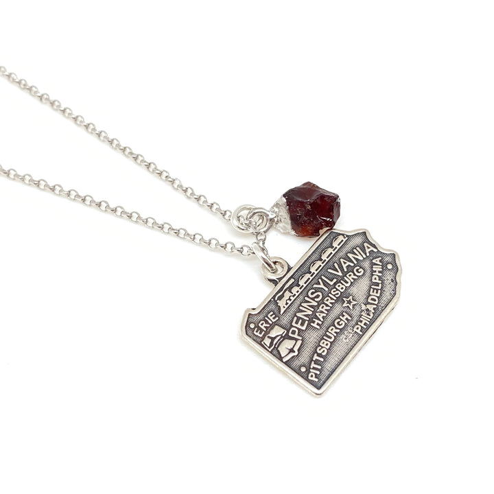 Silver & Garnet Pennsylvania Charm Necklace  - Exclusive - Clover Market