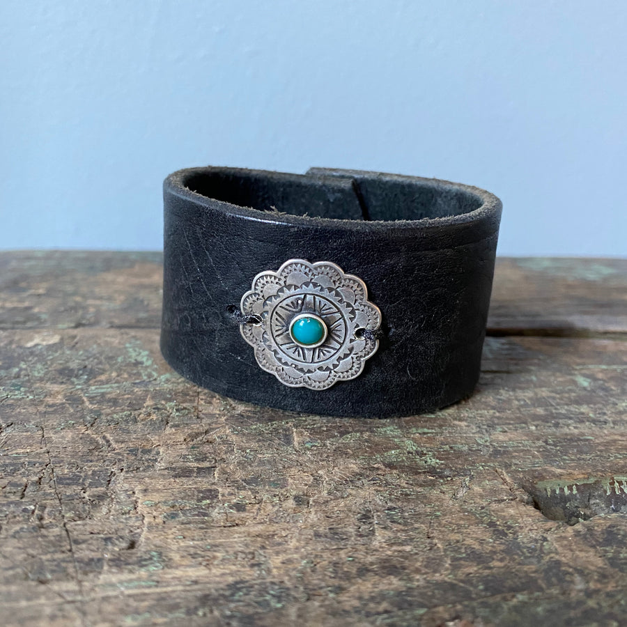 Sterling + Turquoise Leather Cuff