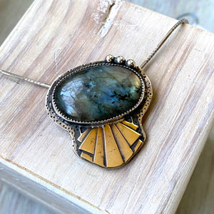 Art Deco Labradorite Necklace - OOAK