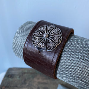Vintage Silver on Leather Cuff