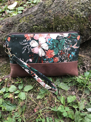 Forest Green Floral Clutch - Handmade Cotton and Waxed Canvas Wristlet
