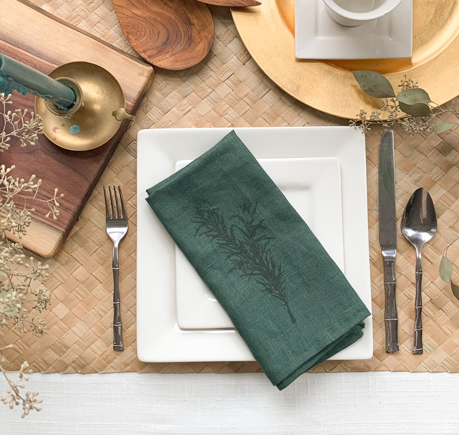 Rosemary Print Linen Napkins - Set of 4