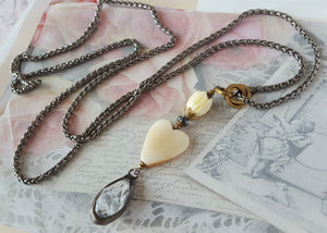 Carved Heart and Faceted Crystal Necklace