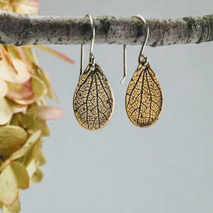 Tiny Drop Earrings, Hydrangea Impression