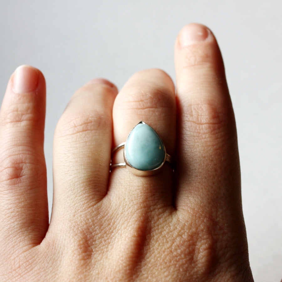 Larimar and Sterling Silver Ring - OOAK