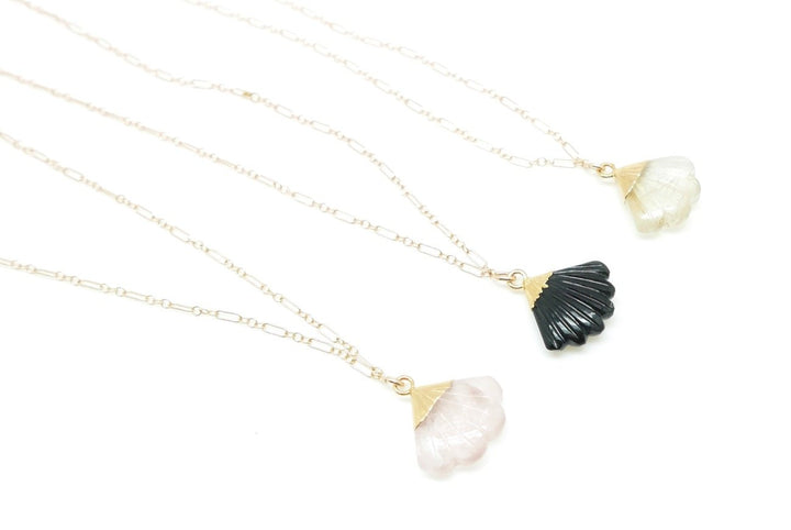Gold-filled Gemstone Fan Necklace (3 Gems Available) - Clover Market