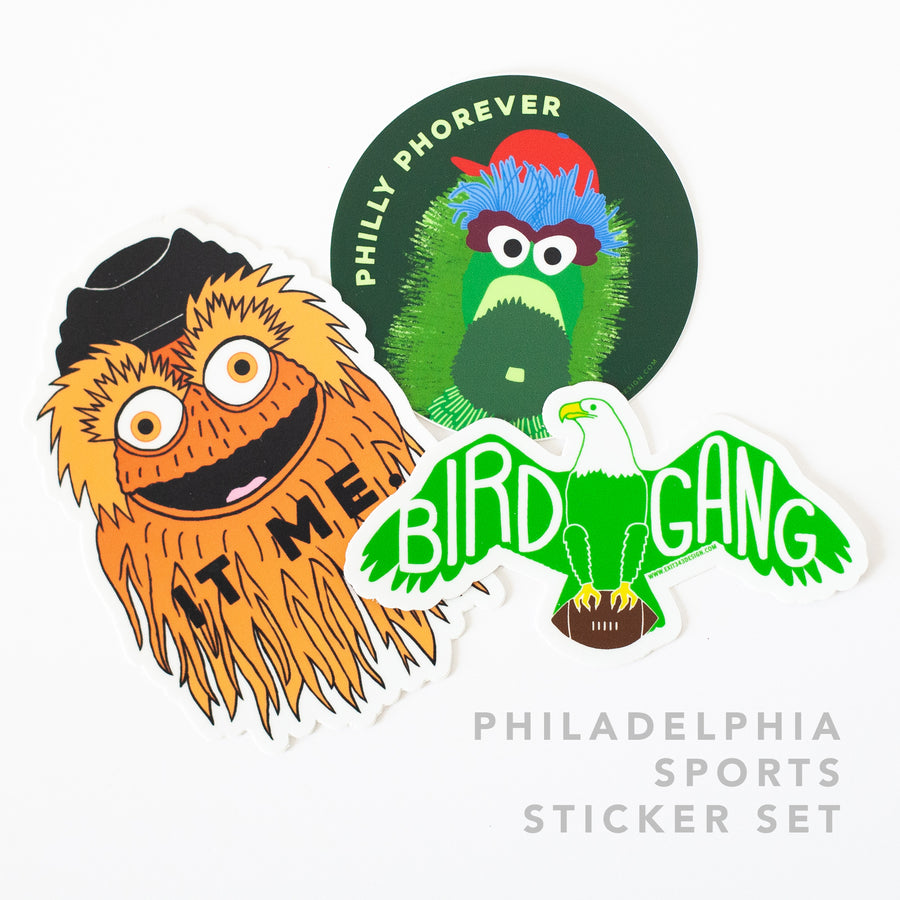 Philadelphia Sports Sticker Set- Gritty, Phanatic, and Bird Gang