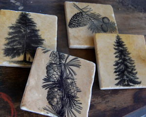 Pine Forest stone coaster set