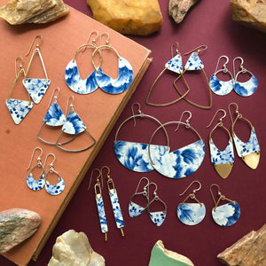 Long Triangle Earrings, Blue Sky - Exclusive - Clover Market
