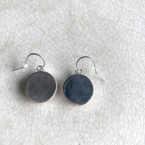 Simple Modern Broken China Flow Blue Earrings - OOAK