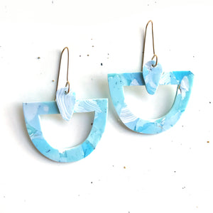 Callan Statement Earrings in Marbled Blue