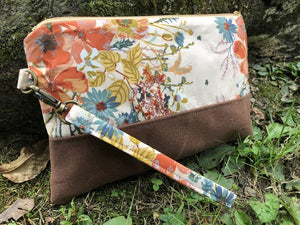 Fall Floral Clutch - Handmade Cotton and Waxed Canvas Wristlet