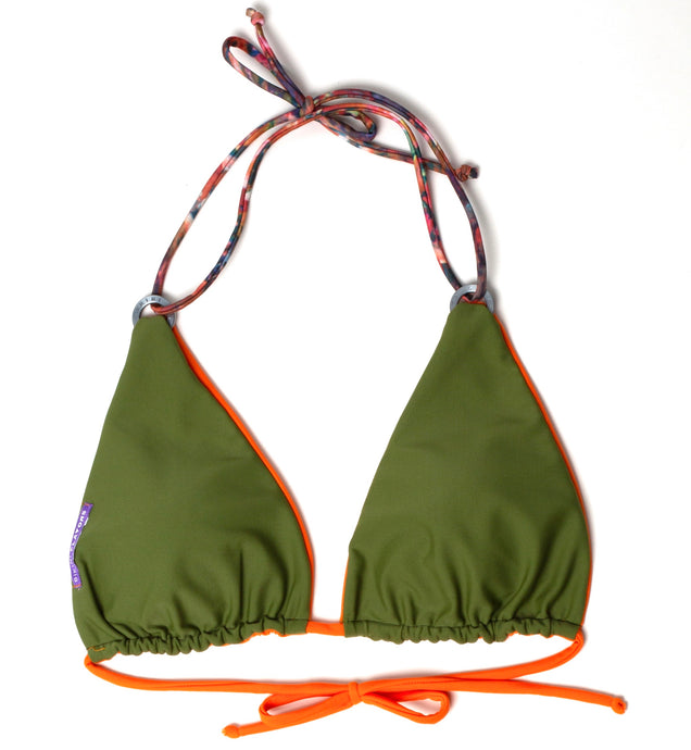 Reversible, sliding triangle bikini top with sliding triangle and interchangeable ties.    Olive-green reverses to orange.  Signature stamped ring hardware.  Bottoms sold separately.  American made.