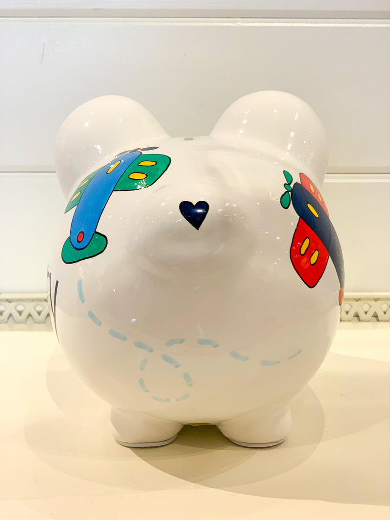 Hand-Painted Personalized Piggy Bank - Airplanes