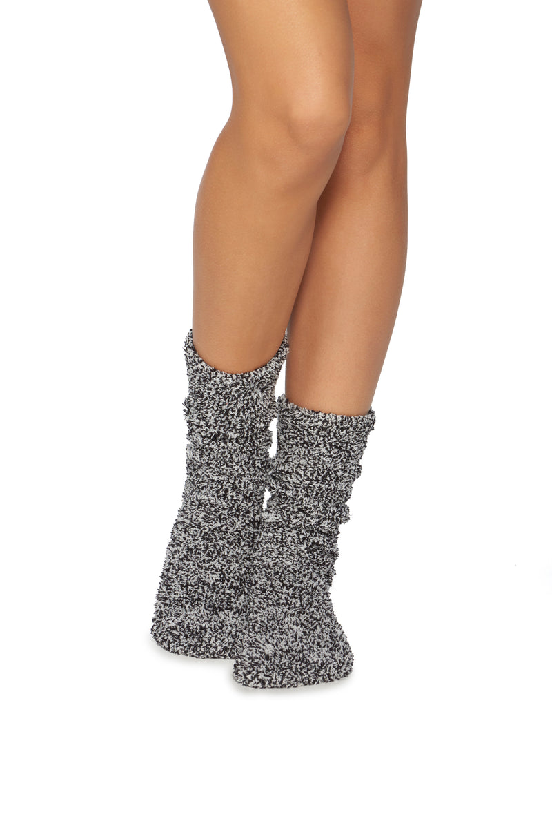 Barefoot Dreams CozyChic Women's Heathered Socks - Black-White
