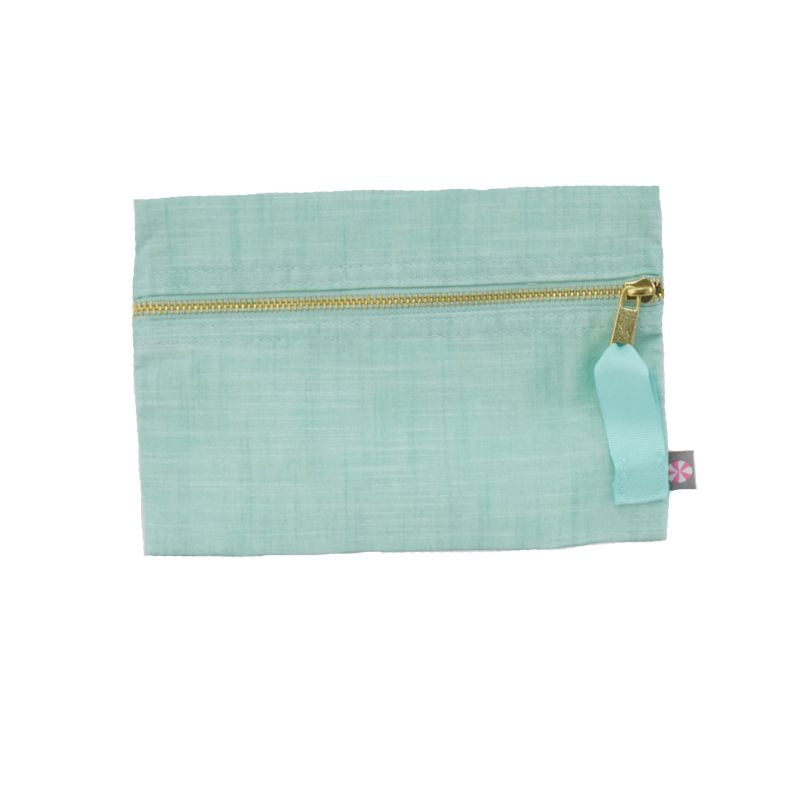 Personalized Cosmo Bag - Mint Chambray
