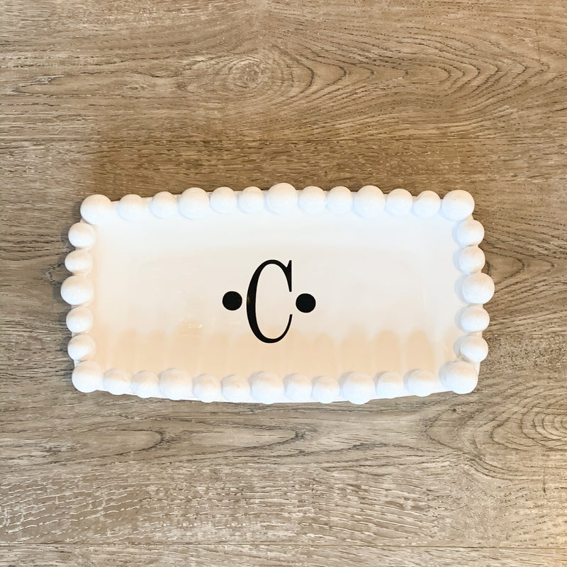 Monogrammed Small Rectangle Dot Rim Platter
