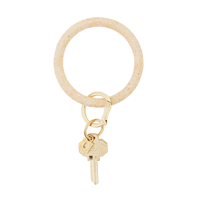 Silicone Big O Key Ring - Gold Confetti
